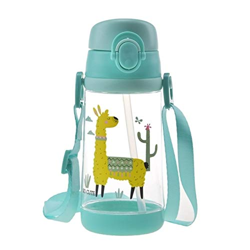500ml Dibujos Animados creativos Animal bebé Paja Botella de Agua a Prueba de Fugas Taza de Agua portátil para niños al Aire Libre - BB7867GR
