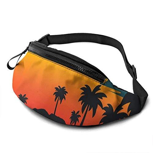 AOOEDM Sunset Palm Tree Cinturón para Correr Riñonera Moda Riñonera Bolsa para Hombres Mujeres Deportes Senderismo