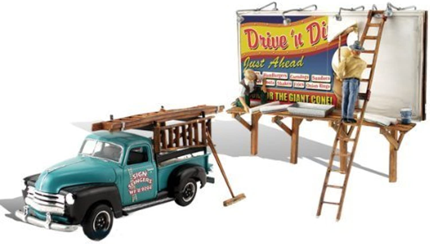 Autoscene Sign Slingers w Pickup Truck & Figures by Woodland Scenics