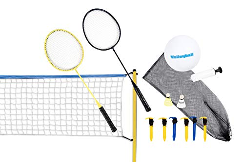 Scatch Volleyball- und Badminton-Set - Federball-Set - mit Netz, Schlägern, Shuttles und Ball - 310 x 168 cm