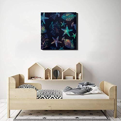 AQQA Wandfarbe für Küchenschalen Seepferdchen Korallen Blaue Streifen Einzigartige Wandfarbe Wandkunst Vintage 20 x 20 Zoll (50x50cm) Wandkunstwerke Bilder für Wohnzimmer Schlafzimmer Dekoration