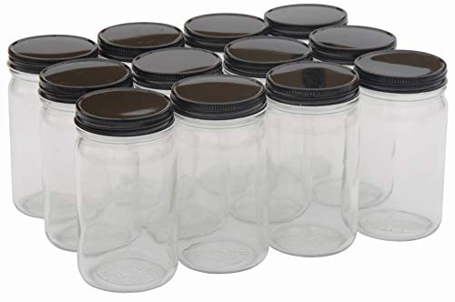 North Mountain Supply 8 Ounce Glass Tall Mason Canning Jars 58mm Mouth - with Black Metal Lids - Case of 12
