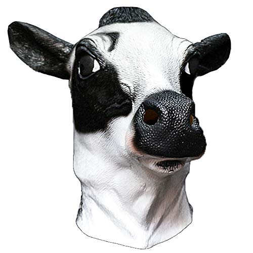 dairy masks Latex Cow Head Mask Milk Cow Farm Animal Moo Halloween Costume Party Masquerade Cosplay Party Fancy Dress