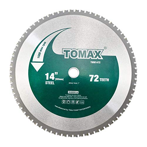 TOMAX 14 Inch 72 Tooth Industrial Level Steel and Ferrous Metal Saw Blade with 1 Inch Arbor