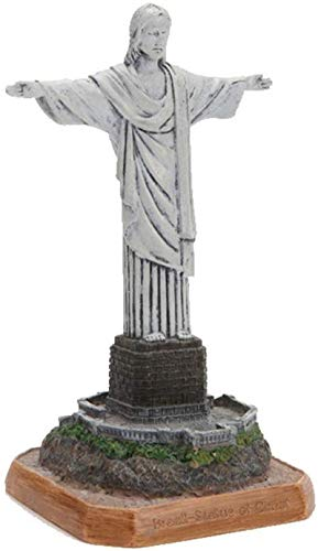 Dongyd Escultura Estatua del Cristo Redentor Resina artesanía Edificio histórico en Río de Janeiro, Brasil Modelos en Miniatura Recuerdos coleccionables de decoración for el hogar