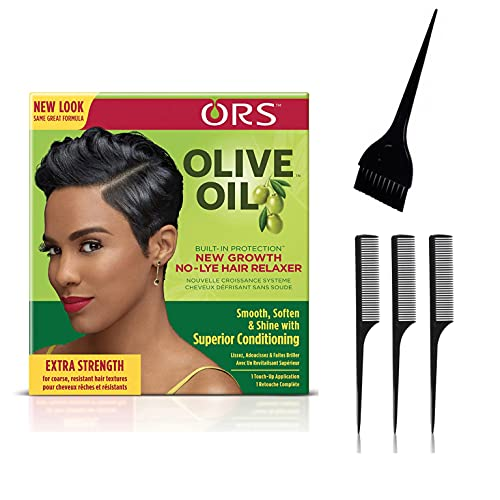 ORS Olive Oil Build-In Protection New Growth No-Lye Hair Relaxer - Extra Strength (Including Large Applicator Brush & 3 pc Rat Tail Styling Comb Set)