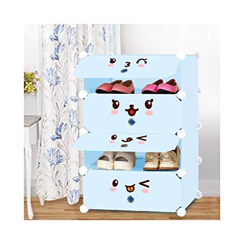 XWZH Gabinete de Zapatos a Prueba de Polvo 4-Cube Zapatero Bricolaje, Unidad de cajones de Almacenamiento Modular Multi Uso Organizador Caja de plástico con Puertas, Azul