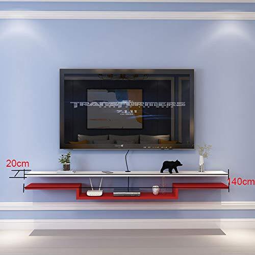 Gabinete De TV, 140Cm * 20Cm Mueble TV Colgante Modulo TV Salon, Madera Maciza, para Estante De CD, DVD, Enrutador, Decoración De Escritorio,White with Red