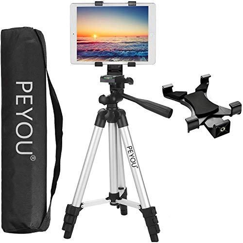"""Peyou Tablet Tripod, 42"""" inch Portable Lightweight Adjustable Aluminum Camera Tablet Tripod + Universal Mount Tablet Holder + Wireless Remote Shutter Compatible for iPad Samsung Kindle Fire Tablet …"""
