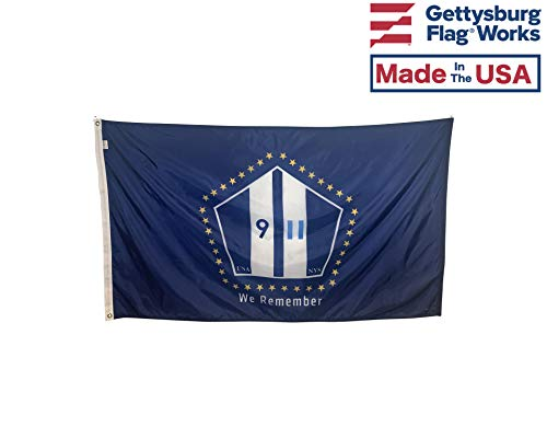 Gettysburg Flag Works 3x5' September 11' We Remember 9/11 Commemorative Outdoor Flag - Durable All Weather Nylon & Reinforced Fly End Stitching - Made in USA