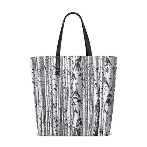Winter Birken Stamm Wald Tote Bag Handtasche Handtasche für Frauen Mädchen