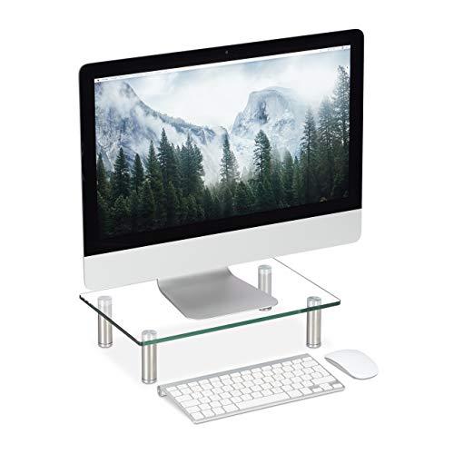 Relaxdays Bildschirmständer Glas, TV Aufsatz, Notebookständer höhenverstellbar 9 - 11 cm, BxT: 38,5 x 24 cm, transparent Klein