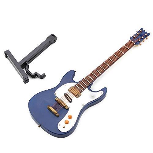 Guitarra eléctrica en miniatura de madera exquisita para decoración de casa de café 3-500-E36