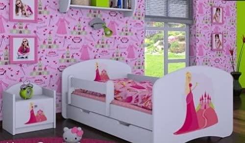 HB Kinderbett mit Matratze und Bettkasten - NEU, Verschiedene Motive Weiss (180x90cm mit Schublade, PRINZESSIN MIT SCHLOSS)