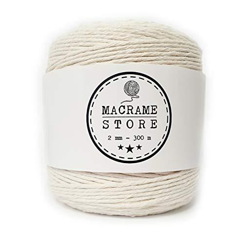 Seil-tech Makramee Garn Weiß 2mm 300M Baumwollkordel Baumwollgarn Natur Macrame für DIY Dekorieren Natürliche Handwerk Wandbehang Stricken Basteln