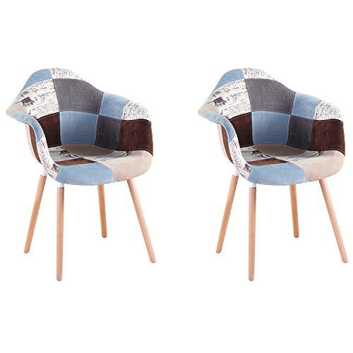 WV LeisureMaster Moderne Esszimmerstühle aus Stoff mit Armlehne Patchwork-Sessel für Wohnzimmer, Esszimmer, Schlafzimmer, Büro, Café, etc., 2er-Set braun