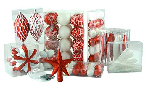 Geschenkestadl 100 teilig Weihnachtskugel bis Ø 6 cm 2-Farben (Rot Weiss)