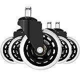 FULUDM Set di 5 rotelle per sedia da ufficio in Gomma Morbida Silenziose Antigraffio Roller, Rotelle da Sedia Girevoli rotelle di Ricambio per Parquet e Pavimenti in Legno 11x22mm
