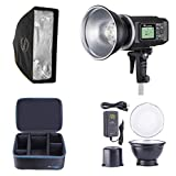 Flashpoint XPLOR 600 HSS Battery-Powered Monolight with Built-in R2 2.4GHz Radio Remote System - Bowens Mount (AD600) + Glow EZ Lock 10x24 Quick Strip Softbox with Bowens Mount