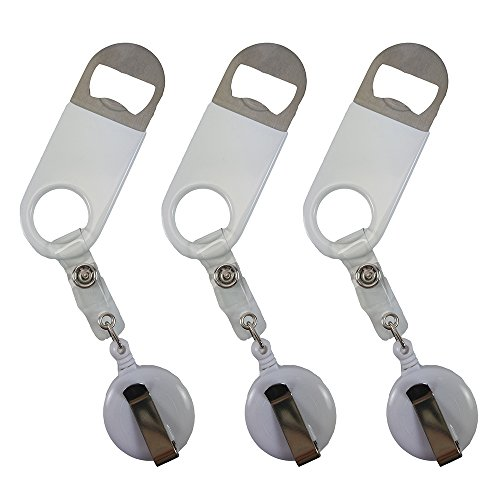Retractable Flat Beer Bottle Opener with Belt Clip for Bartenders,Waiter (White 3-Pack)