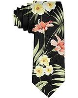 Men's Hawaii Hawaiian Tropical Flowers and Jungle Palms Necktie Polyester Silk Soft Business Gentleman Tie Necktie