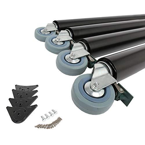 4er Set Tischbeine Tischfüße Möbelbeine 870mm ø 60mm auf Rollen mit Bremsen verschiedene Farben (Schwarz)
