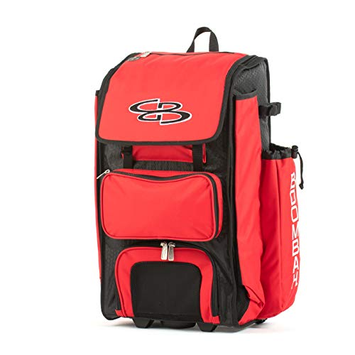 "Boombah Rolling Catchers Superpack 2.0 Baseball/Softball Gear Bag - 23-1/2"" x 13-1/2"" x 9-1/2"" - Black/Red - Telescopic Handle - Holds 4 Bats - Wheeled Version"