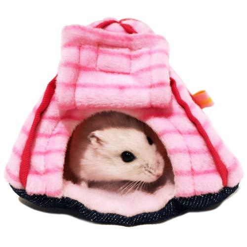 【レインボー】プチテントハウス しましま:ピンク/ハムスター モモンガ おうち ハンモック