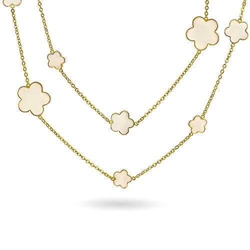 Bling Jewelry Crema Flor Trébol Blanco Largo Latón Chapado En Oro 14K Estación Tin Cup Cadena Collar Capa Envoltura Mujer 42 Pulg.