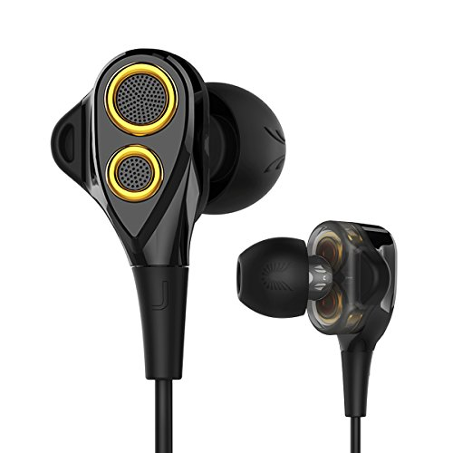 in-Ear HiFi Earphones, UiiSii T8S Triple Driver Earbuds Noise Reduction and Deep Bass with Mic Volume Controlfor Smartphones (Black)