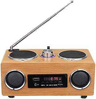 Huante Wooden Retro Radio, Remote Control Stereo Bass Portable Wireless Bluetooth Speaker with Tf Card/aux Mp3 Player Char... photo