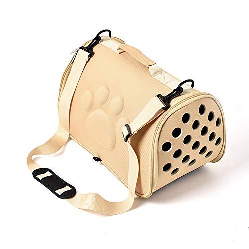 ZUOQUAN Katzentransportbox - Ideal für Katzen & kleine Hunde - Stabile Transporttasche mit großem Blickfeld - Transportbox Katze - Stilvolle Katzenbox,Beige,L