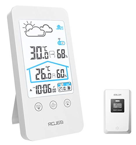 Stazione Meteo, Stazione Meteorologica Wireless con Sensore Esterno, Termometro Igrometro Digitale Interno con Schermo LCD a Colori per Sveglia Tempo Data Temperatura umidità Previsioni di Tempo