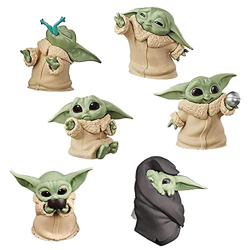 Nesloonp Star Wars Baby Yoda 6 Juegos de Juguetes Yoda para bebés, Lindos Mini Modelos, Decoraciones de Mesa Impermeables y a Prueba de óxido, Joyas de Star Wars Yoda