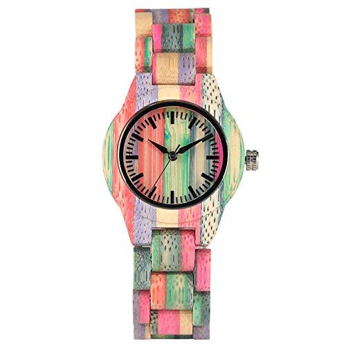 ZJQQS Holzuhren Frauen Holz Uhren Quarz Ultraleichte Holz Armreif Uhr Damen Einzigartige Bunte Anzeige Minimalistische Vollholz Armbanduhren -Blau