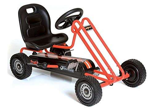 Hauck Lightning - Pedal Go Kart | Pedal Car | Ride On Toys for Boys & Girls with Ergonomic Adjustable Seat & Sharp Handling - Orange