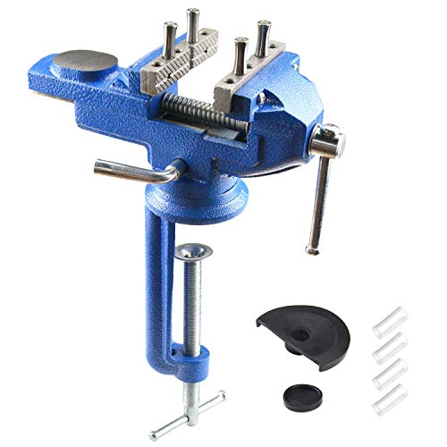 Bench Vise with Clamp Post Universal 3 Inch Bench Clamps 360° Swivel...