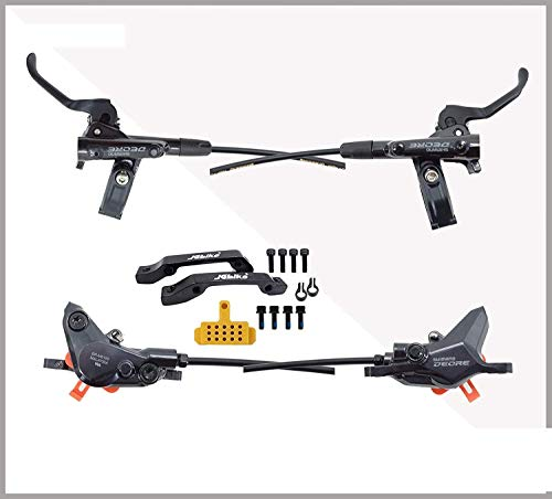 JGbike Compatible Hydraulic Disc Brake Set for Shimano DEORE M6100 2-Piston, Downhill XC Mountain Bike, pre-Assembled and pre-Bled