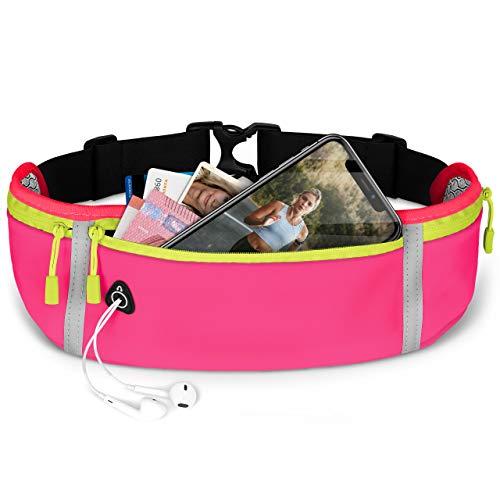ONEFLOW Premium Handy Laufgürtel für alle Vernee Handys   Handytasche Sport Handyhalter für Joggen, Laufen - Lauftasche Atmungsaktiv mit Reflektorstreifen Gürteltasche, Pink