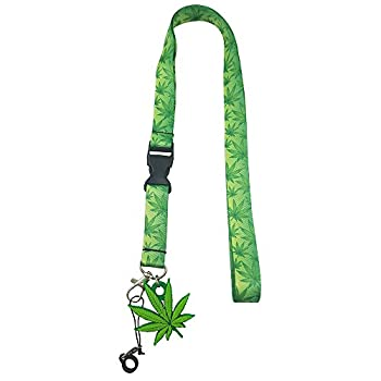 Pot Leaf Marijuana Lanyard with Vape Pen Holder and Rubber Leaf Charm