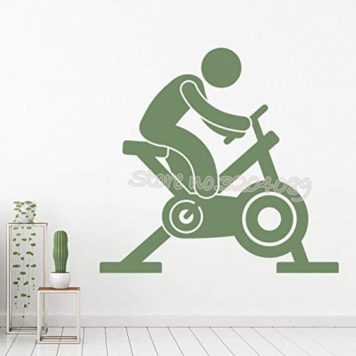 zhuziji Bicicleta estática Athletics Fitness Trainer Etiqueta de la Pared Bicicleta de Spinning Sport Gym Studio Decoración de Interiores Vinilo mural84x84cm