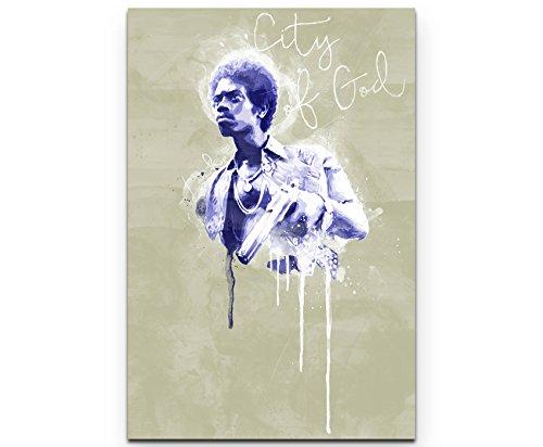 City of God Locke 90x60cm Paul Sinus Art Splash Art Wandbild auf Leinwand blau