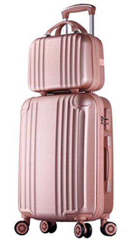 Womens ABS Spinner Luggage Candy Color Hardside Rolling Zipper Suitcase - 20 Inch Rose Gold
