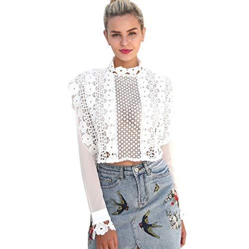FggWomen Lace transparant holle lange mouw coltrui shirt