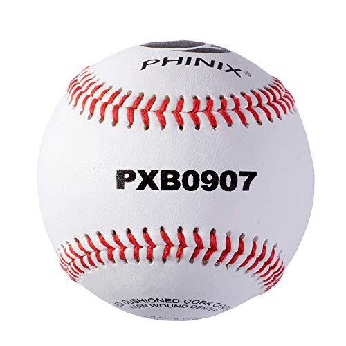 PHINIX Full Grain Leather Baseball High School Practice (2 Pack) Raised Seam Official Size and Weight Competition Grade Professional Quality (9 inch, 12 Balls)