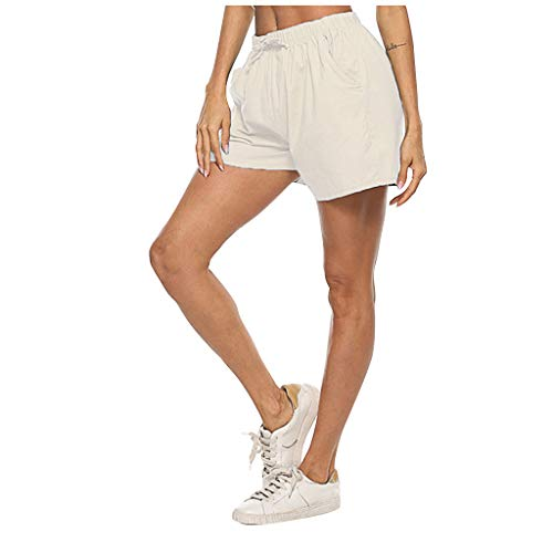 Best Prices! ANJUNIE Women's Casual Shorts Cotton Linen Solid Pant with Two Pocket Lace Up Loose Wid...