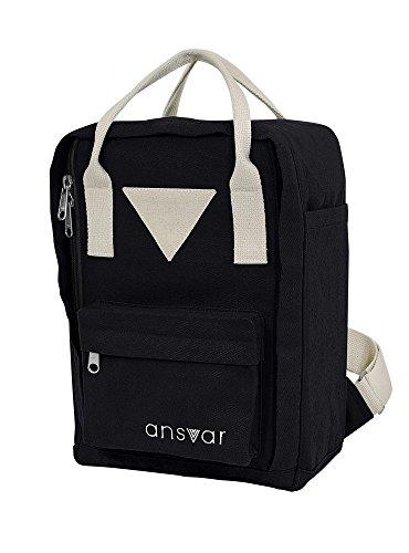 Mini Backpack ansvar IV aus Bio Baumwoll Canvas - Hochwertiger Rucksack aus 100% nachhaltigen Materialien - Wasserabweisend - Der erste Rucksack mit GOTS & Fairtrade Zertifikat, Farbe:schwarz