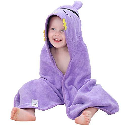 MICHLEY asciugamani con cappuccio bimbo 100% cotone naturale accappatoio bambina animale, Teli da spiaggia extra large 90x90 cm per bambino 0-6T porpora