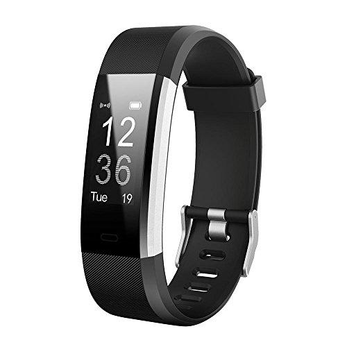 KOBWA Fitness Tracker mit Herzfrequenz, Smart Armband 0,96 zoll OLED Schlank Touchscreen mit Schrittzähler Schlafmonitor Kalorienzähler SMS Anrufe für Android und IOS(USB Anschluss Direkt Laden)