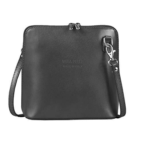 Made in Italy Florence echt Leder Tasche Schultertasche Umhängetasche Daisy19 Disco City Bag Theatertasche Abendtasche 17x17x8 cm (BxHxT) (Grau)